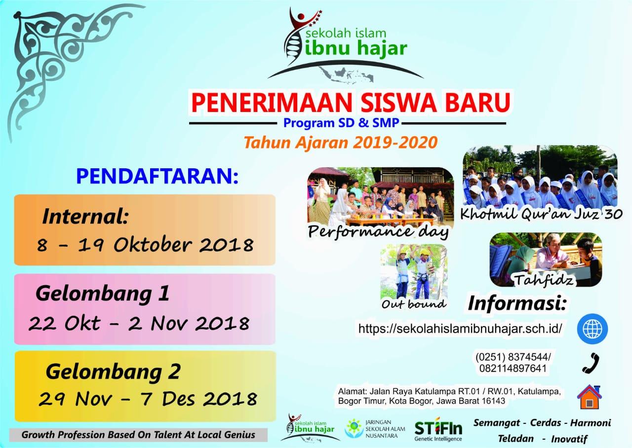 Penerimaan Siswa Baru Program SD & SMP Tahun Ajaran 2019-2020